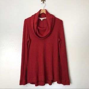 Anthropologie Meadow Rue funnel neck red knit top